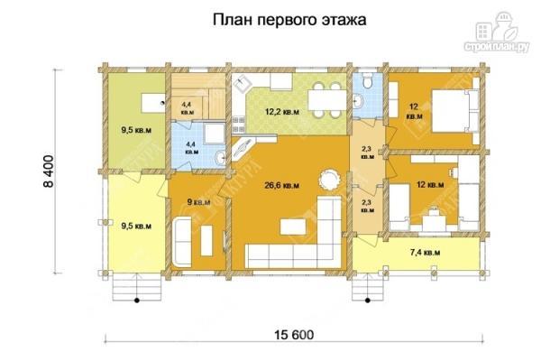 Фото 2: проект бревенчатый дом с баней и двумя верандами