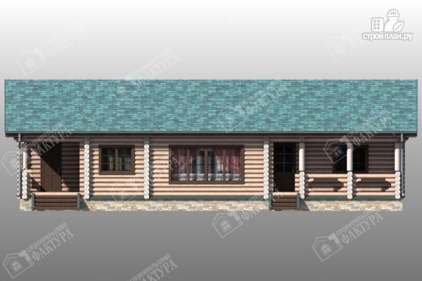 Фото 3: проект бревенчатый дом с баней и двумя верандами
