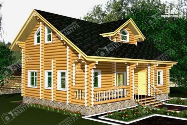 Фото: проект двухэтажный дом из бревна с баней