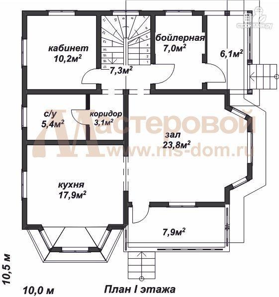 Фото 2: проект дом из профилированного бруса с большой гостиной