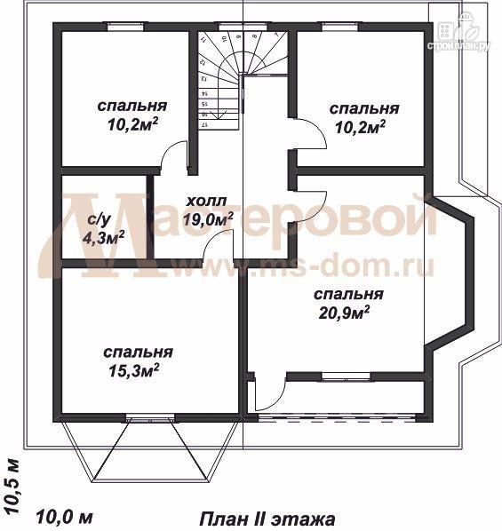 Фото 3: проект дом из профилированного бруса с большой гостиной