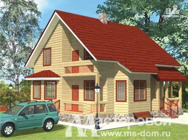 Фото: проект дом из профилированного бруса с большой гостиной