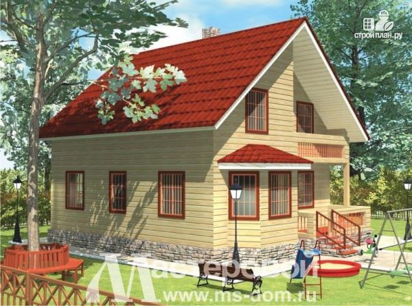 Фото 5: проект дом из профилированного бруса с большой гостиной