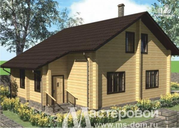 Фото 4: проект дом из бруса с двухсветной гостиной и камином
