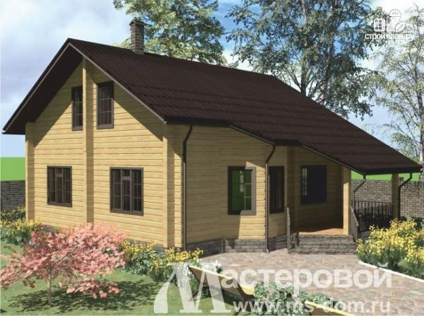 Фото: проект дом из бруса с двухсветной гостиной и камином