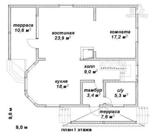 Фото 2: проект дом 9х9 из бруса