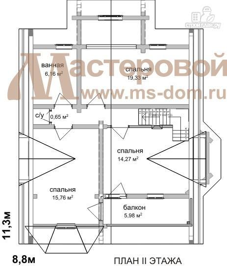 Фото 3: проект дом из бруса с мансардой и балконом