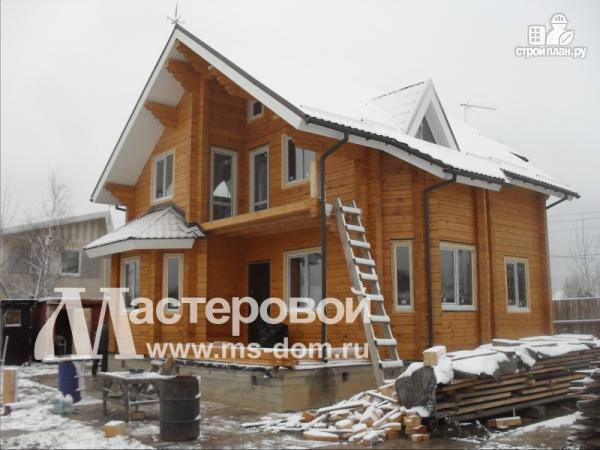 Фото 4: проект дом из бруса с мансардой и балконом