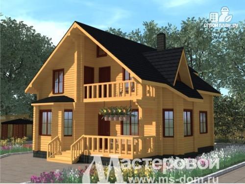 Фото: проект дом из бруса с мансардой и балконом