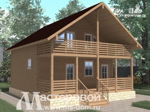 Фото: проект двухэтажный дом из бруса с большим балконом