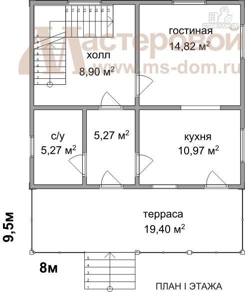 Фото 2: проект двухэтажный дом из бруса с большим балконом