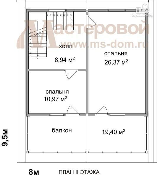 Фото 3: проект двухэтажный дом из бруса с большим балконом