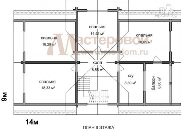 Фото 3: проект деревянный дом 9х14 из бруса