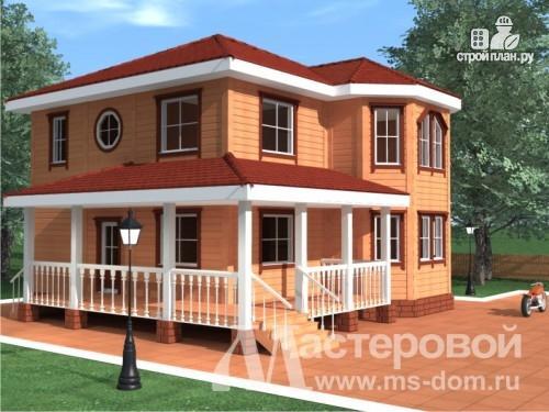 Фото: проект дом из бруса с угловой террасой