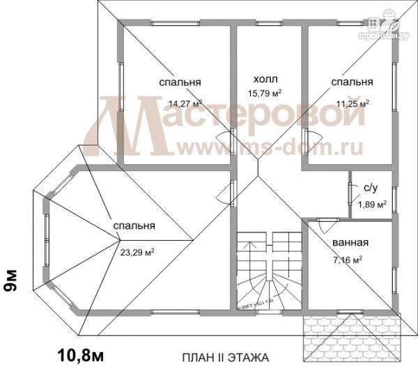 Фото 3: проект дом из бруса с угловой террасой