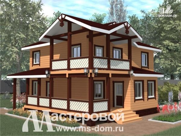 Фото: проект двухэтажный деревянный дом из профилированного бруса естественной влажности