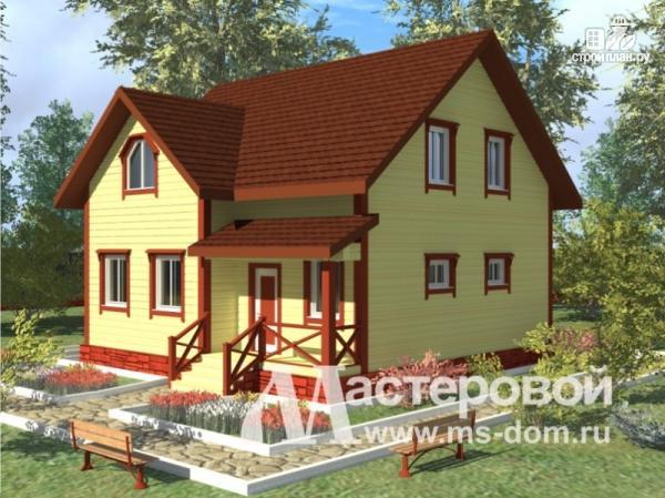 Фото: проект деревянный дом 9х9 из бруса