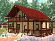 Фото: деревяный дом из бруса с балконом