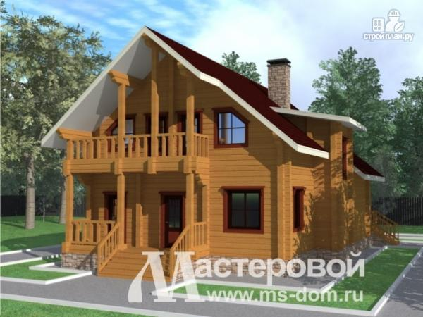 Фото 4: проект дом из бруса с витражными окнами