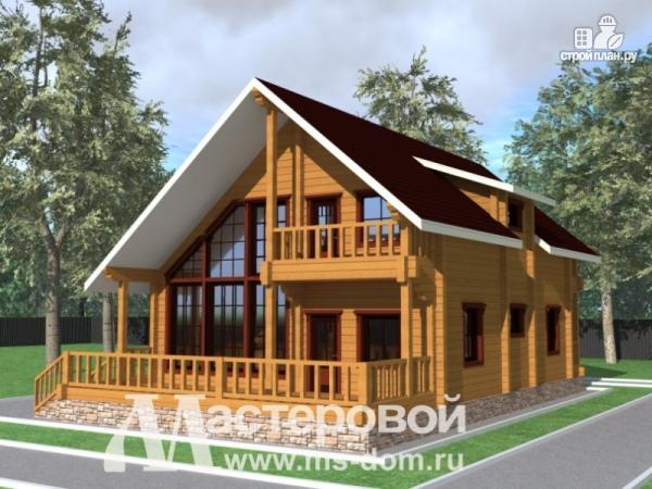 Фото: проект дом из бруса с витражными окнами