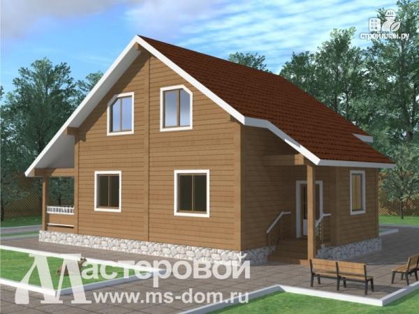 Фото 4: проект дом из бруса с террасой
