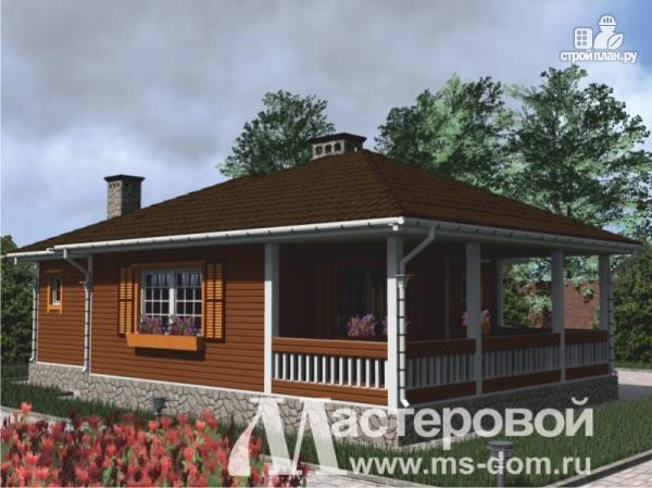 Фото 6: проект одноэтажный дом из бруса с террасой и сауной