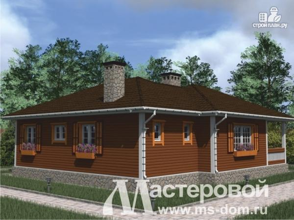 Фото 4: проект одноэтажный дом из бруса с террасой и сауной