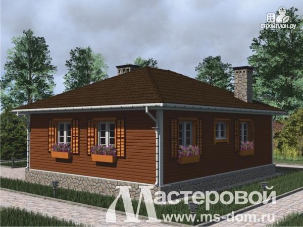 Фото 5: проект одноэтажный дом из бруса с террасой и сауной
