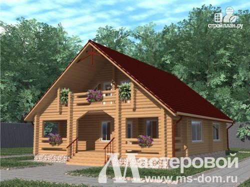 Фото: проект дом из бревна с большой верандой и балконом