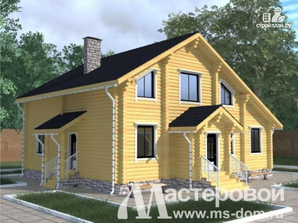 Фото: проект бревенчатый дом с камином и террасой