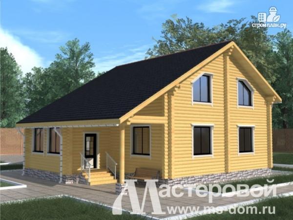 Фото 4: проект бревенчатый дом с камином и террасой