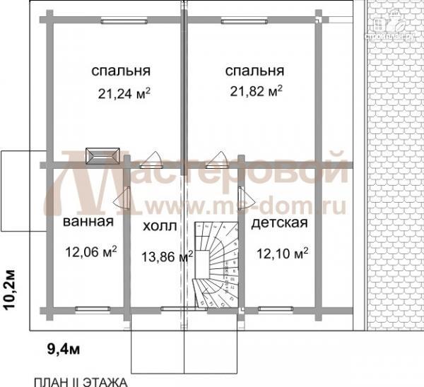 Фото 3: проект бревенчатый дом с камином и террасой