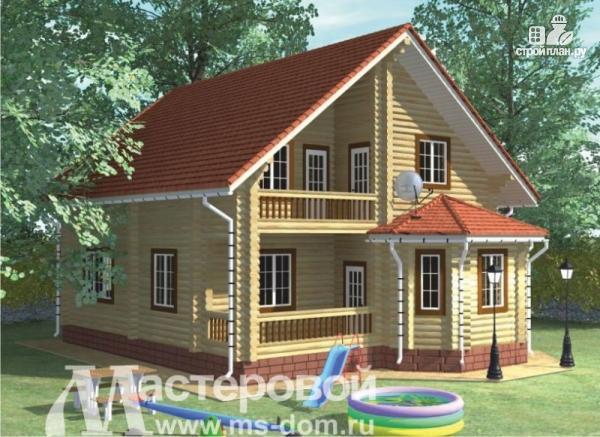 Фото: проект дом из бревна с балконом и террасой