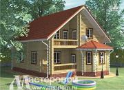 Проект дом из бревна с балконом и террасой