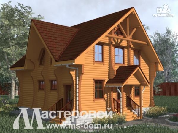 Фото 4: проект дом из бревна с оригинальным фасадом