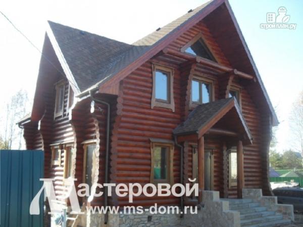 Фото 6: проект дом из бревна с оригинальным фасадом
