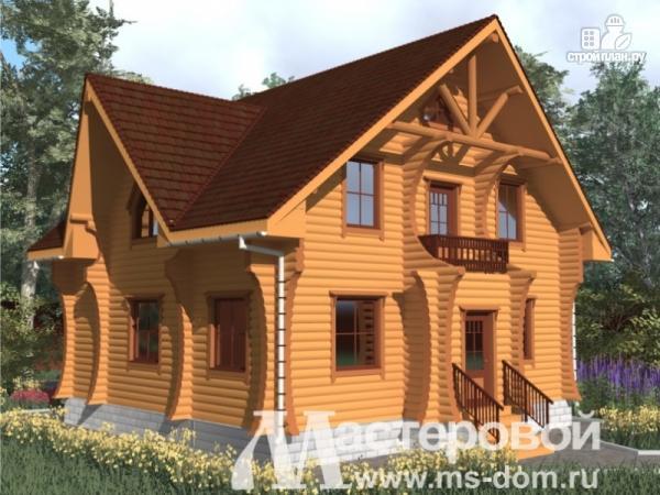 Фото: проект дом из бревна с оригинальным фасадом
