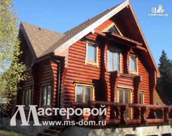 Фото 5: проект дом из бревна с оригинальным фасадом