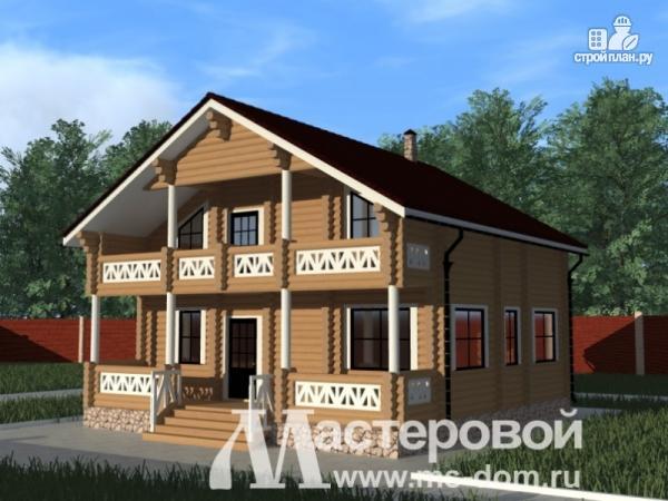 Фото: проект деревянный дом из оцилиндрованного бревна с балконом