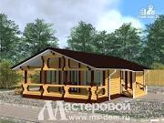 Фото: одноэтажный дом из бревна с террасой