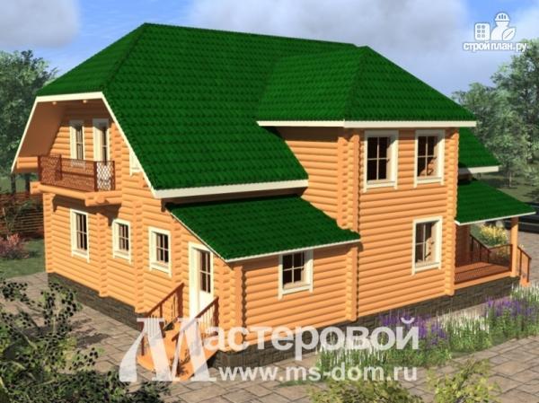 Фото 5: проект дом из оцилиндрованного бревна 240 мм с большой террасой