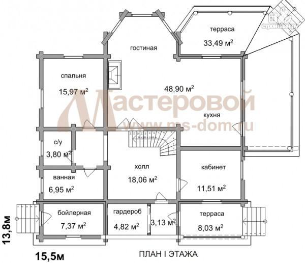 Фото 2: проект дом из оцилиндрованного бревна 240 мм с большой террасой
