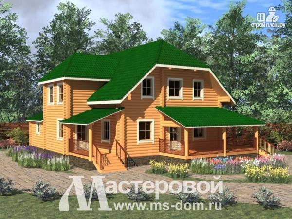 Фото: проект дом из оцилиндрованного бревна 240 мм с большой террасой