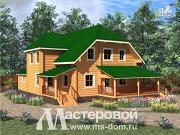 Проект дом из оцилиндрованного бревна 240 мм с большой террасой
