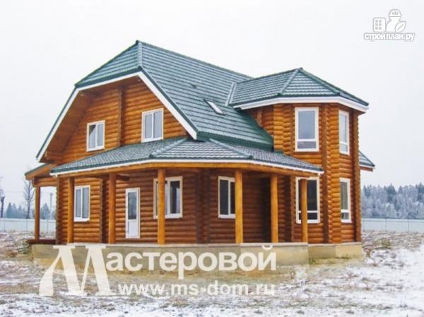 Фото 4: проект дом из оцилиндрованного бревна 240 мм с большой террасой