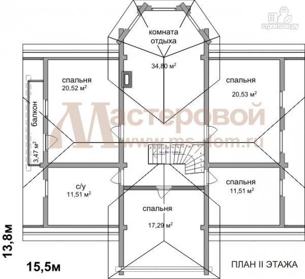 Фото 3: проект дом из оцилиндрованного бревна 240 мм с большой террасой