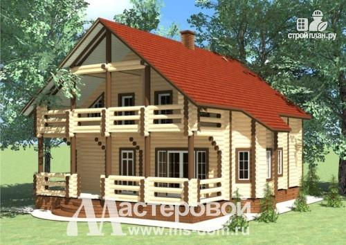 Фото: проект двухэтажный дом из оцилиндрованного бревна 260мм
