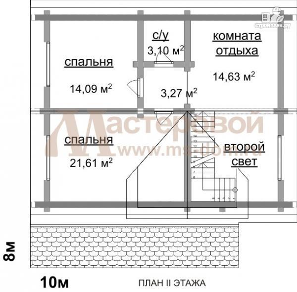Фото 3: проект дом из бревна 10х10 с мансардой