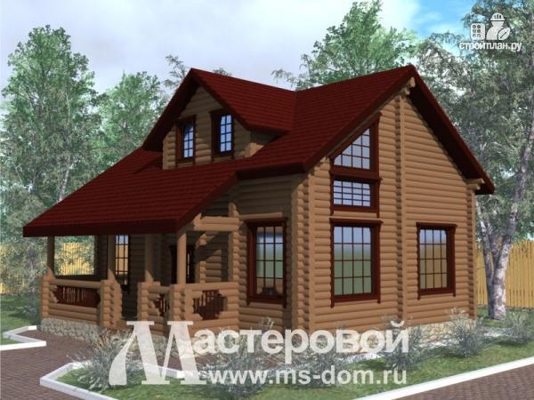 Фото: проект дом из бревна 10х10 с мансардой