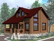Фото: дом из бревна 10х10 с мансардой